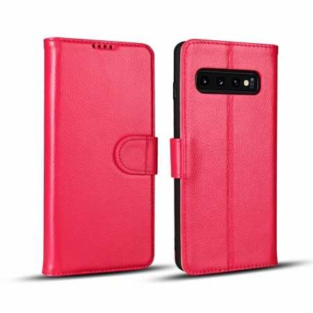 Lichee Pattern Genuine cowhide leather wallet case For Samsung Galaxy S10 - Rose