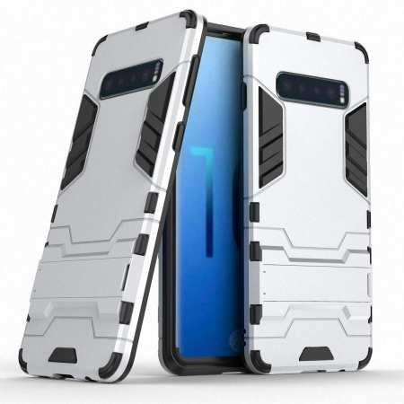 Armor Hybrid Slim Case Shockproof Stand Cover For Samsung Galaxy S10e - Silver