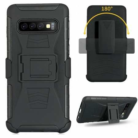 For Samsung Galaxy Galaxy S10 Armor Shockproof Stand Hybrid Thin Case Cover - Black