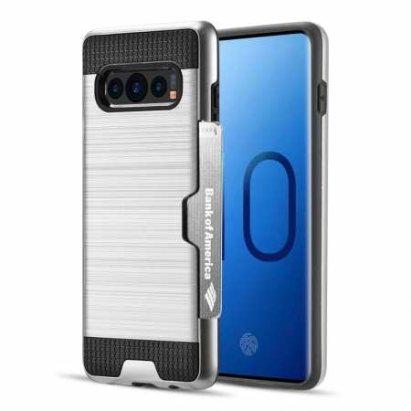 For Samsung Galaxy S10 ShockProof Hybrid Rugged Card Slot Phone Case Cover - Silver
