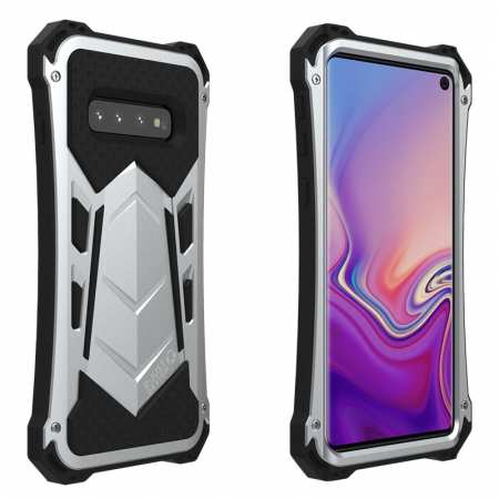 R-JUST Shockproof Aluminum Metal Armor Case For Samsung Galaxy S10 - Silver