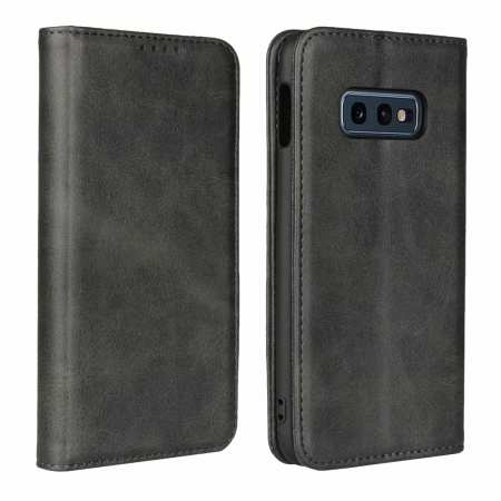 Magnet Adsorption Stand Flip Leather Case for Samsung Galaxy S10e - Black
