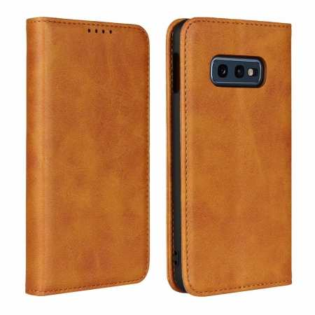 Magnet Adsorption Stand Flip Leather Case for Samsung Galaxy S10e - Brown