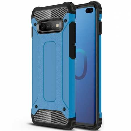 For Samsung Galaxy S10 Phone Armor Hybrid Rugged Shockproof Cover - Blue