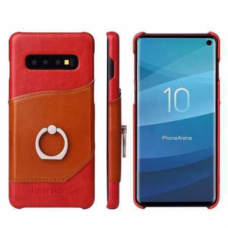 Ring Holder Genuine Leather Kickstand Case for Samsung Galaxy S10 - Red