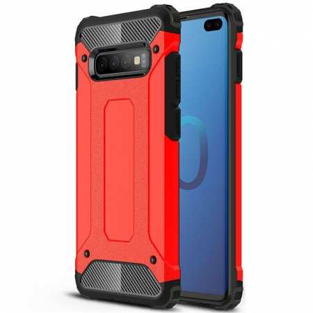 For Samsung Galaxy S10 Phone Armor Hybrid Rugged Shockproof Cover - Red
