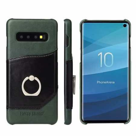 Ring Holder Genuine Leather Kickstand Case for Samsung Galaxy S10 - Green