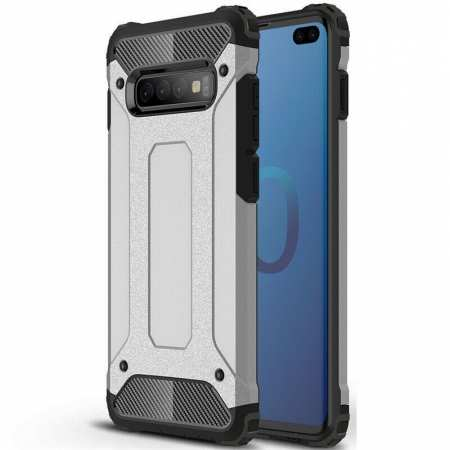 For Samsung Galaxy S10 Phone Armor Hybrid Rugged Shockproof Cover - Silver