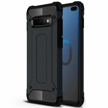 For Samsung Galaxy S10 Phone Armor Hybrid Rugged Shockproof Cover - Black