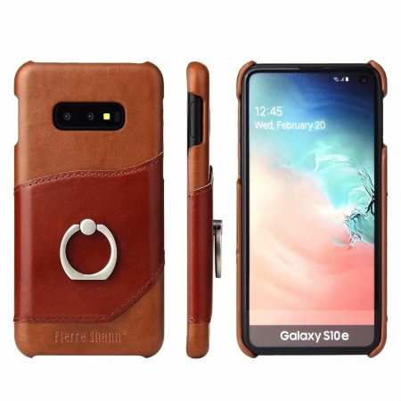Case For Samsung Galaxy S10e 360° Rotating Ring Holder Stand Genuine Leather Back Cover - Brown