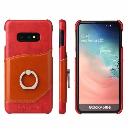 Case For Samsung Galaxy S10e 360° Rotating Ring Holder Stand Genuine Leather Back Cover - Red
