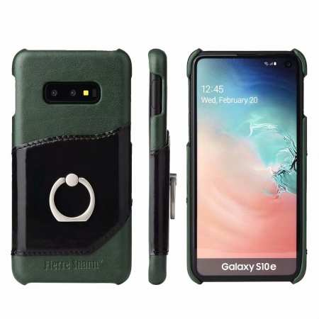 Case For Samsung Galaxy S10e 360° Rotating Ring Holder Stand Genuine Leather Back Cover - Green