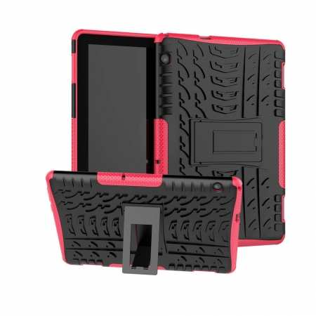 For Huawei Mediapad T5 10 10.1inch Case Shockproof Rugged Armor Hybrid Protective Cover - Hot Pink