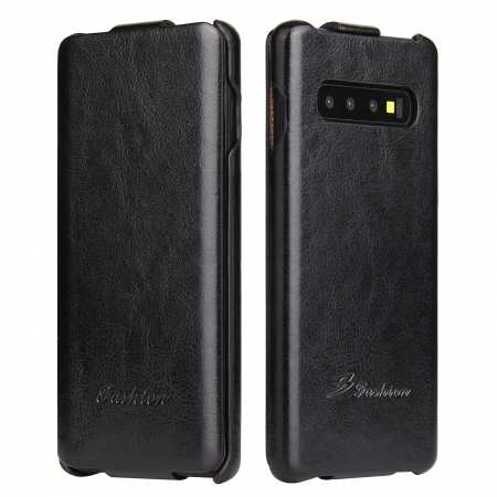 Crazy Horse Grain Vertical Flip Leather Case For Samsung Galaxy S10 - Black