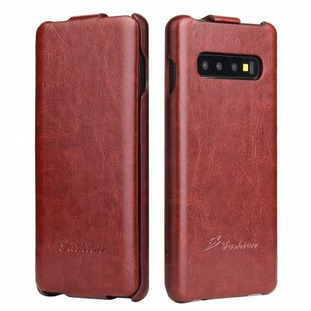 Crazy Horse Grain Vertical Flip Leather Case For Samsung Galaxy S10 - Brown