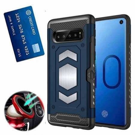 Armor Magnetic Car Holder Card Slot Back Case Cover For Samsung Galaxy S10e - Navy Blue