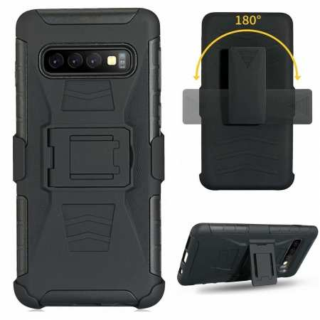 For Samsung Galaxy S10 Plus Black Heavy Duty Armor Stand Combo Holster Cover Phone Case - Black