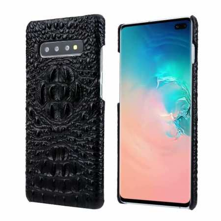 For Samsung Galaxy S10 Plus Crocodile Head Pattern Genuine Leather Back Case Cover - Black
