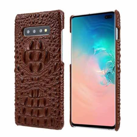 For Samsung Galaxy S10 Plus Crocodile Head Pattern Genuine Leather Back Case Cover - Brown