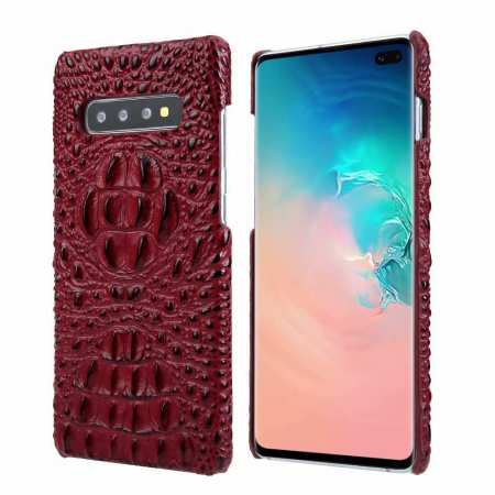 For Samsung Galaxy S10 Plus Crocodile Head Pattern Genuine Leather Back Case Cover - Red