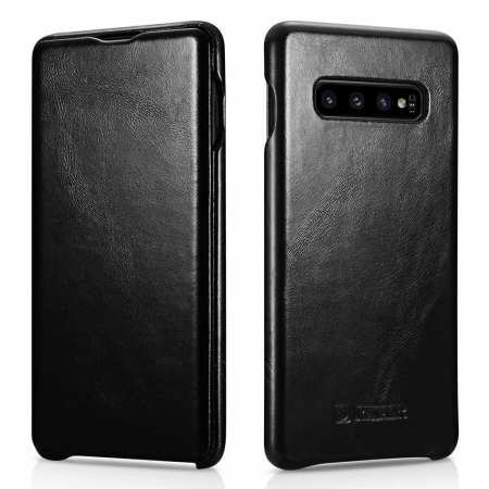 For Samsung Galaxy S10 Plus ICARER Curved Edge Vintage Series Genuine Leather Flip Case - Black
