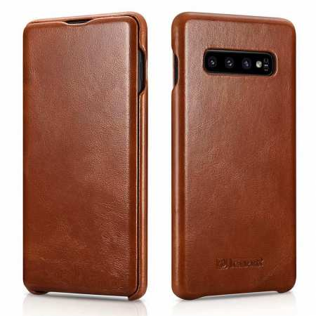For Samsung Galaxy S10 Plus ICARER Curved Edge Vintage Series Genuine Leather Flip Case - Brown