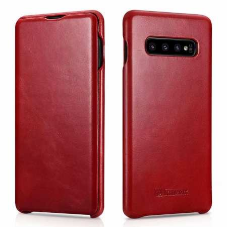 For Samsung Galaxy S10 Plus ICARER Curved Edge Vintage Series Genuine Leather Flip Case - Red