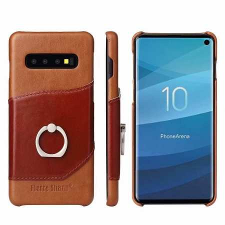 For Samsung Galaxy S10 Plus Ring Holder Kickstand Genuine Leather Case - Brown