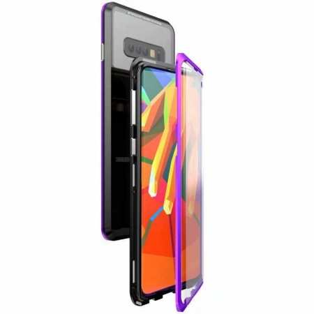 For Samsung Galaxy S10e 360 Protection Magnetic Metal Tempered Glass Case - Black&Purple