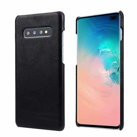 Genuine Leather Matte Back Case Cover for Samsung Galaxy S10 Plus - Black