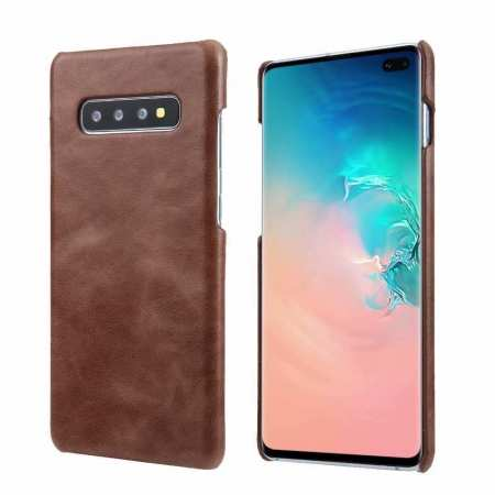 Genuine Leather Matte Back Case Cover for Samsung Galaxy S10 Plus - Dark Brown