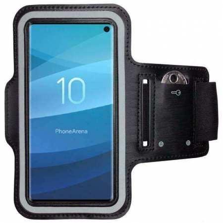 Gym Running Jogging Sports Armband Holder Case Cover for Samsung Galaxy S10 Plus - Black