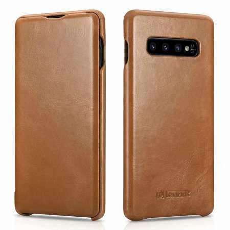 ICARER Vintage Case For Samsung Galaxy S10 Plus Flip Real Leather - Khaki