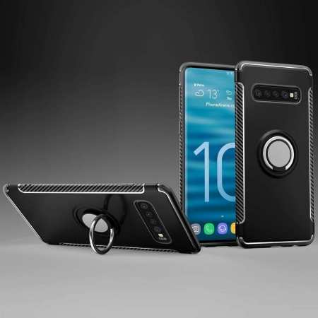 Magnetic Car Holder Ring Stand Soft TPU Case Cover for Samsung Galaxy S10 Plus - Black