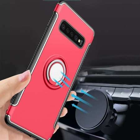 Magnetic Car Holder Ring Stand Soft TPU Case Cover for Samsung Galaxy S10 Plus - Red