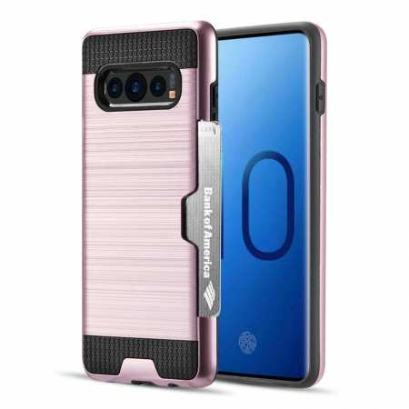 New Brush Hard Hybrid 2-Layer Case with Card Slot For Samsung Galaxy S10 Plus - Rose Gold