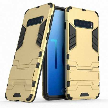 Shockproof Hybrid Armor Stand Case Cover For Samsung Galaxy S10e - Gold
