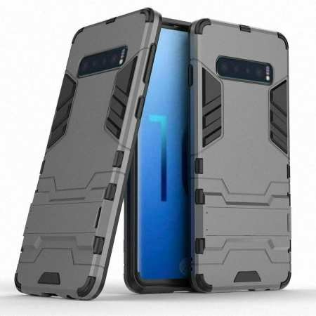 Shockproof Hybrid Armor Stand Case Cover For Samsung Galaxy S10e - Grey
