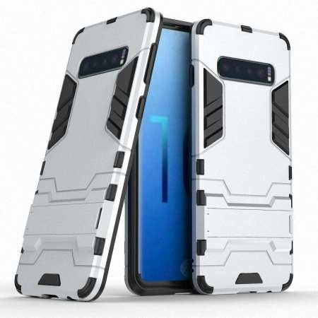 Shockproof Hybrid Armor Stand Case Cover For Samsung Galaxy S10e - Silver