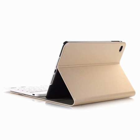 For iPad Mini 5 Ultra-thin Detachable Bluetooth Wireless Keyboard Stand Leather Case - Gold