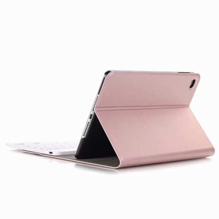 For iPad Mini 5 Ultra-thin Detachable Bluetooth Wireless Keyboard Stand Leather Case - Rose Gold
