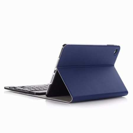 For iPad Mini 5 Ultra-thin Detachable Bluetooth Wireless Keyboard Stand Leather Case - Navy Blue