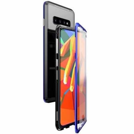 For Samsung Galaxy S10 Magnetic Adsorption Metal Frame + Tempered Glass Back Case - Blakc&Blue