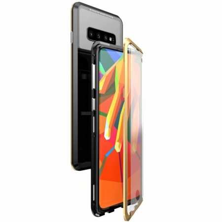 For Samsung Galaxy S10 Magnetic Adsorption Metal Frame + Tempered Glass Back Case - Black&Gold