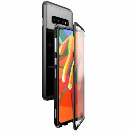 For Samsung Galaxy S10 Magnetic Adsorption Metal Frame + Tempered Glass Back Case - Black