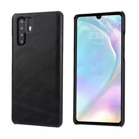 Matte Genuine Leather Back Case Cover for Huawei P30 - Black