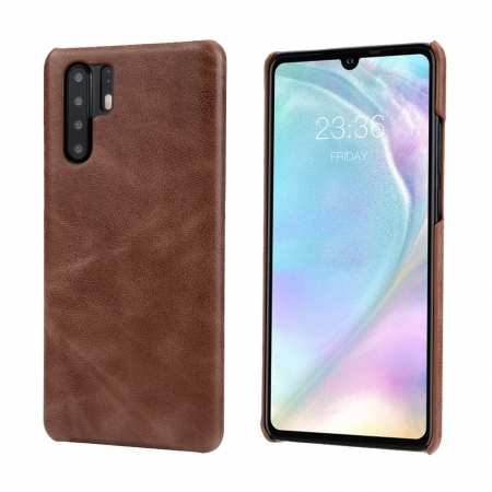 Matte Genuine Leather Back Case Cover for Huawei P30 - Dark Brown