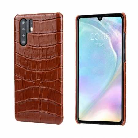 For Huawei P30 Crocodile Pattern Genuine Leather Back Case Cover -  Brown