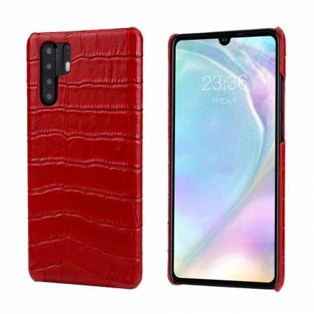 For Huawei P30 Crocodile Pattern Genuine Leather Back Case Cover -  Red