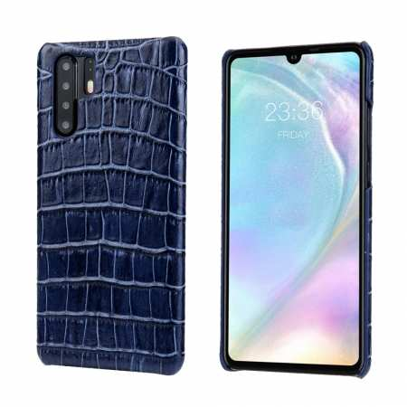 For Huawei P30 Crocodile Pattern Genuine Leather Back Case Cover -  Dark Blue